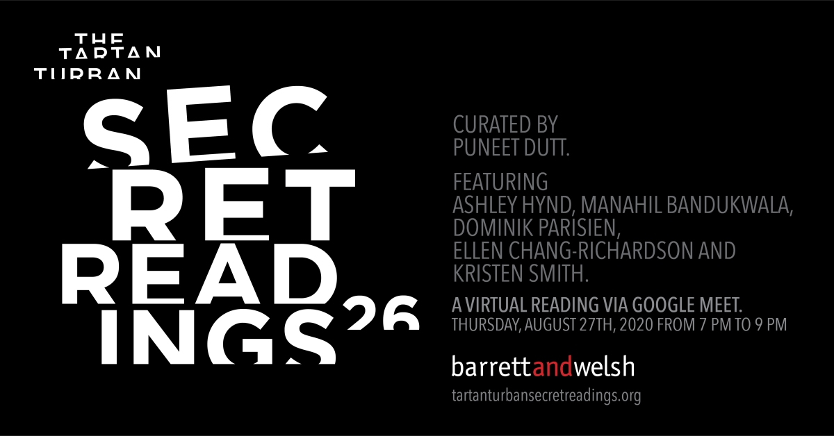 Black and White typographic poster image for the 26th Tartan Turban Secret Reading