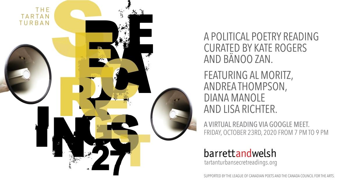 Typographic poster image for the 27th Tartan Turban Secret Reading